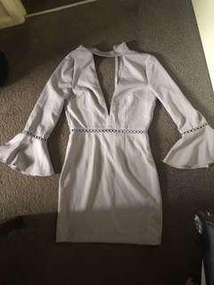 Grey/purple flare sleeve dress