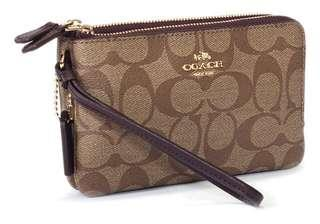 986dd5901c2f AUTHENTIC COACH Double Corner Zip Wristlet (COACH F87591)