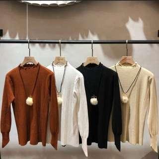正韓 korea 毛球皮繩鍊+ 木耳邊針織上衣/正韓 毛毛外套