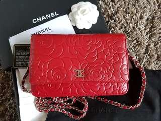 Chanel Camelia Wallet on Chain WOC SHW