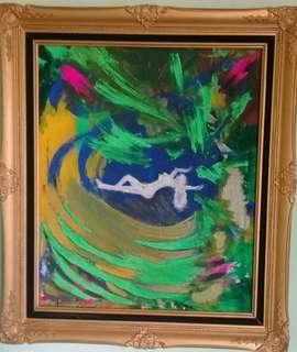 Lukisan Abstrak 80/60 no bingkai