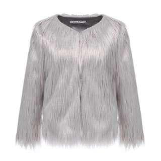 Silver Grey Faux Fur Coat
