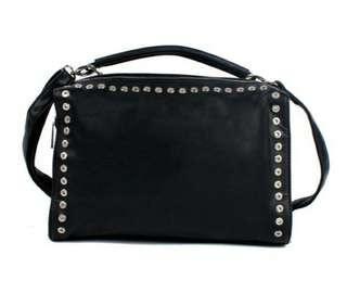 La Halle Black Studded Slingbag