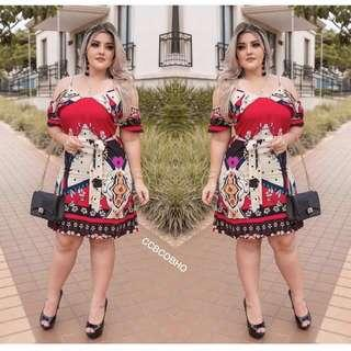 📢new A R R I V A L !!! 🎉🎉🎉 🌺Fashion casual floral  dress ( with belt )  🌼spandex  🌷One size (fit s to L )  💫One color  🎀Good Quality 💕