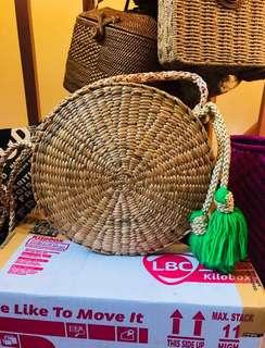 Round Sling Rattan Bag