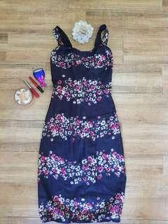 Bustier floral fitted dress