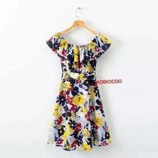 Bestseller Restock💫Celebrity offShoulder Dress 💫Free size up to Semi L 💫1Color 💫Chiffon