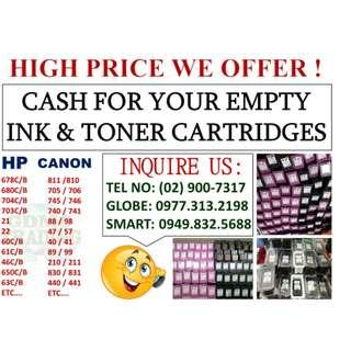 WE BUY EMPTY INK AND TONER CARTRIDGES AT HIGH PRICE