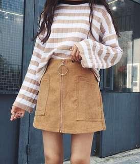 🚚 (全新免運)韓版顯瘦假兩件金屬拉環褲裙
