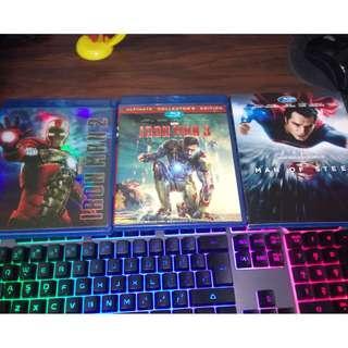 China 25gb Blurays (IRONMAN 2 & 3 + Man of Steel blurays) 3 pcs for 350 pesos only