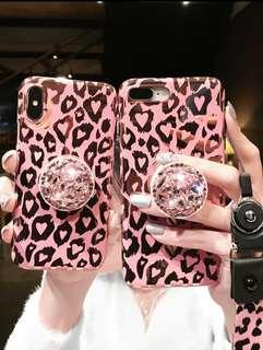 iPhone  Xs Max/XR/Xs/X/8/7/6手機系列♥ 奢華粉紅豹紋 手工鑲鑽氣囊 支架 掛繩手機殼