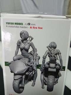Motorbike maiden - fire fox in detailed miniature scale