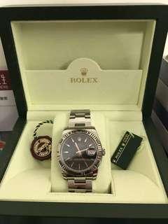 勞力士rolex 116264 白金圈黑面紅針紅日期鋼製手錶