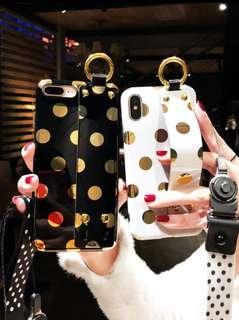 iPhone  Xs Max/XR/Xs/X/8/7/6手機系列♥ 甜美氣質燙金波點  腕带支架 掛繩手機殼