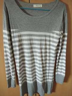 Grey Long Sleeve stripe dress
