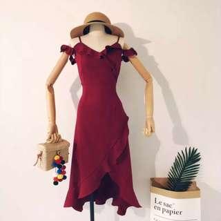 [PO] vneck ruffle cross over dress