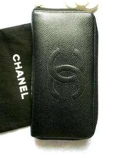 CHANEL Caviar Zipparound Long Wallet AUTHENTIC