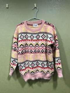 🚚 全新圖騰粉色柔軟針織毛衣