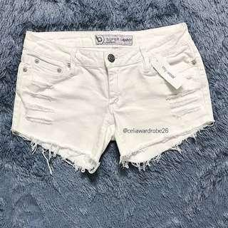 SH - 031 HOTPANTS RIPPED JEANS BULLHEAD IN WHITE IMPORT