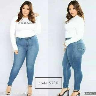 Plus Size Emroidery Back Pocket Skinny Jeans