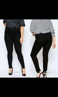 Plus Size Plain Black Highwaist Jeans