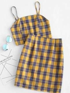 Yellow/Blue Plaid Crop Top & Skirt Set