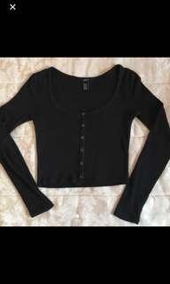 Super cute black button up crop top long sleeve