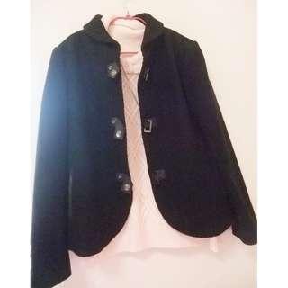 🚚 原價7000多 大折扣( 福華飯店精品 65%羊毛 日本素材)克萊亞KERAIA黑色輕柔毛料外套/短版大衣外套 9號 萊卡佛