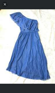 Zara one shoulder denim dress