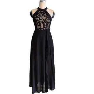 Black Evening/Dinner Halter Maxi Dress #CNY888