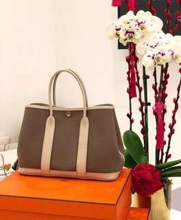 ❌SOLD!❌ Superb Deal! Hermes Garden Party 30 in Etoupe Canvas and Craie Negonda Leather
