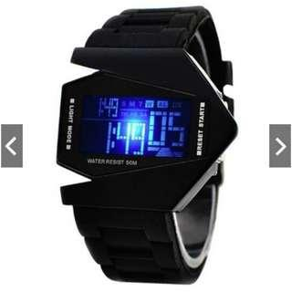 #CNY888 Stealth Plane Aircraft Bomber Sports LED Digital Watch Silicone Watches Black