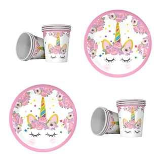 Party Supplies Unicorn / party plate party cup set of 6 plates sets birthday event events parties supply
