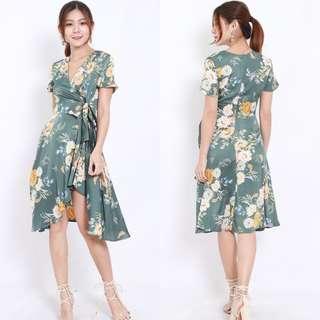[PO] Green Floral Wrap Maxi Dress
