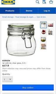 【Ikea】密封 玻璃 壿 瓶 樽 缾 壺 0.5L sealed glass mug jar bottle 原價$18