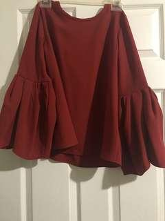 Zara Red Flare Sleeve Blouse