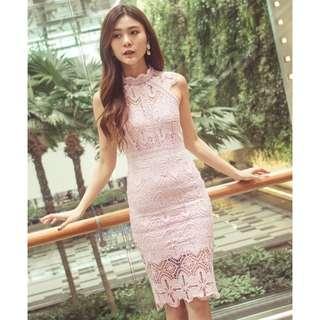 [PO] Pink Daphnie Crochet Dress