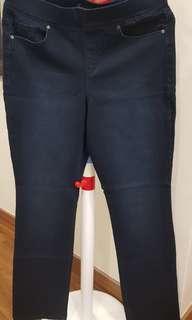 Dark blue elastic waist jeans