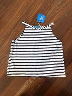 Black White Stripes Halter Neck Top