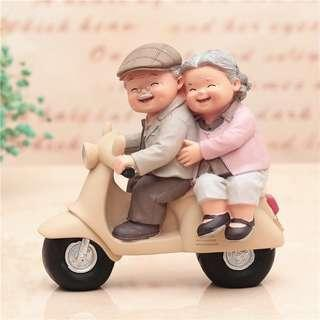 爺爺與奶奶 汽車擺件 Q版公仔