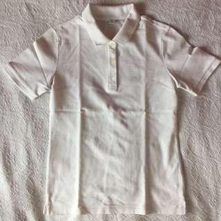 Uniqlo White Collared T-Shirt