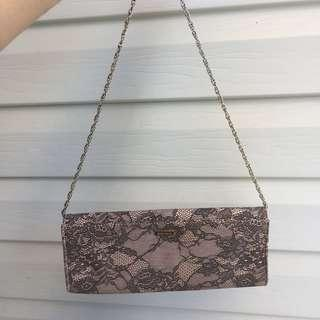 Diana Ferrari purse pink with lace w/out chain (chain not detachable)