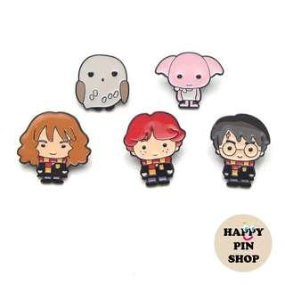 [OTW] Harry Potter (Chibi) Enamel Pins - Harry, Ron, Hermione, Hedwig (Harry's Owl), Dobby