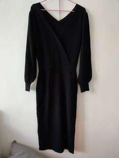 日本 Lily brown 2019福袋 黑色針織洋裝