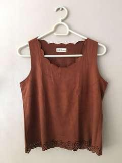 Suede Top with Laser Cut