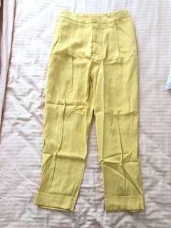 Zara High Waist Yellow Formal Casual Pants