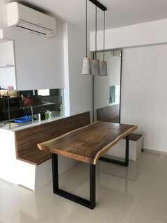 Solid Suar Wood Table with buildt in bench