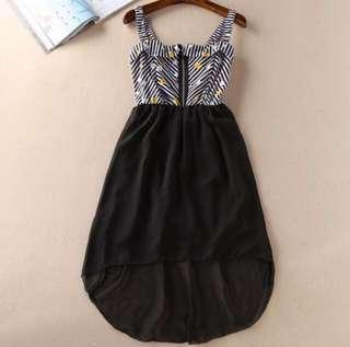 🚚 Navy Blue Floral Zippered Sleeveless Asymmetrical Chiffon Dress