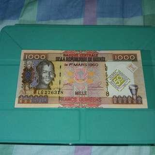 [紀念鈔] 2010 幾內亞1000 法郎 發行貨幣50週年紀念