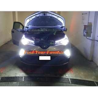 J1 brand HB4 (HIR2 and 9012 compatible) 6500K white CSP LED fan-less headlight on Toyota CHR - cash&carry only NO INSTALLATION.